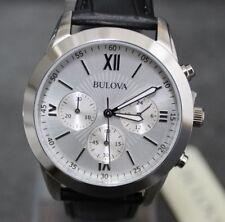 Bulova Orologio Cronografo Classico Uomo Silver Cinturino Pelle NUOVO €.279 mens