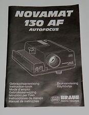 Originale Aneitung für Diaprojektor Braun Novamat 130 AF autofocus