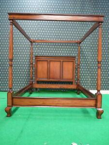 BESPOKE Super King size minimalist MAHOGANY  wood Four Poster canopy Bed