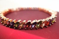 18K Yellow gold GF Solid Colorful Marquise Gemstone Women's bracelet 7' 18cm