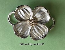 Dogwood Flower Clasp Sterling Silver 925 w/ 14K Gold Center Made in Usa