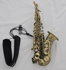 Hand hammered Antique curved sax soprano saxophone Abalone shell key French mout