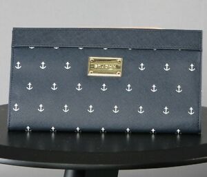 St John Knits Faux Saffiano Leather Clutch Navy/White Anchors NWOT