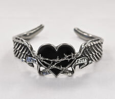 Black Romance Bracelet Size Large (Retired) - Alchemy Gothic Winged Heart Cuff
