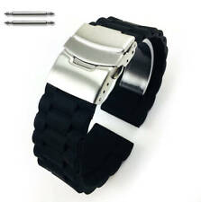 Black Rubber Silicone Replacement Watch Band Strap Double Locking Buckle #4091