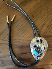 S S I Handcrafted Silver Turquoise & Red Coral Bolo Tie Made In The USA