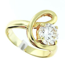 8mm Clear 1.97ct CZ Stone 18kt Gold Plated Ladies Ring Size 8