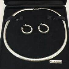 "QVC Domed Stretch Omega Chain Necklace & Hoop Earrings Set 18.5"" 7mm 8mm Classic"