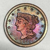 1851 Braided Hair Half Cent C-1 Blazing Colorful Rainbow Toning EDS