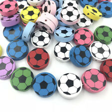 DIY 40PCS Football Spacer beads Wooden Beading Kids Toys Pacifier Clip 20mm