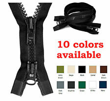 "YKK #10 24-36"" Molded Plastic Heavy Duty 2-Way Separating Jacket Zipper 8 Colors"