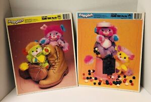 Vintage Popples Lot Of 2 Frame Tray Puzzles Golden  1987