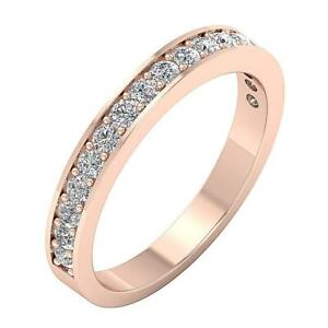 Natural Diamond SI1 G 0.75 Ct 14K Solid Yellow Gold Anniversary Stackable Ring