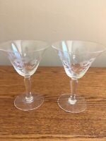 "SET OF 2 Vintage 6-oz Etched Wine Glasses; 5""; Flower Pattern; EUC!"