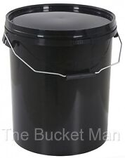 3 x 5 L Ltr Litre Black Plastic Buckets Containers with Lids & Metal Handles