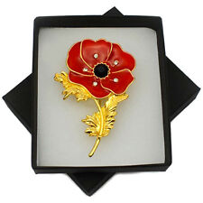 Women Red Remembrance Gold Poppy Flower Party Pin Brooch Banquet Crystal Badge