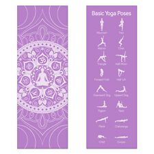 Purple Printed Design Yoga Mat with Poses Printed on One Side Lightweight