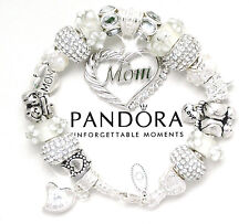 Authentic Pandora Sterling Silver Bracelet MOM White Mom Love European Charms
