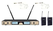 Wireless Headworn Microphone System UHF Professional Dual Headset Microphone