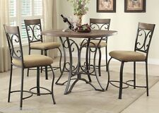 Modern 5pc Dining set counter height Table chairs Oak & Antique Black Finish