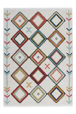 Flachflor Teppich Modern Fransenteppich Rautenmuster Azteken Musterteppich Multi