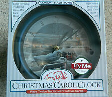 "Terry Redlin Christmas carol clock""Family Traditions"" w/12 traditional carols"