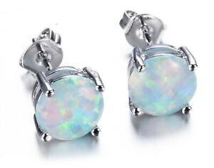 Opal 6mm Round Stud Earrings White Gold Silver
