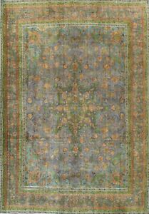 Antique Overdyed Tebriz Hand-knotted Area Rug Evenly Low Pile Wool Carpet 9'x12'