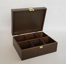 Brown Wooden Box Tea Bag Chest 6 COMPARTMENT Removable Dividers Storage Lipton