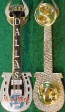 Hard Rock Cafe DALLAS 1999 Horseshoe Guitar PROTOTYPE PIN Gold WEAVE Back Proto