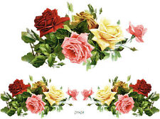 VinTaGe IMaGe XL MiXeD RoSeS SWaGs ShaBby WaTerSLiDe DeCALs