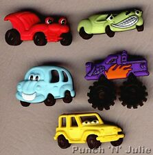 WHAT'S UNDER THE HOOD? Funny Cars Faces Wheels Novelty Dress It Up Craft Buttons