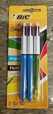 1 Pack of 3 - Bic 4 Colour Pens 1.0mm - Original and 1.6mm - Fluro Retractable
