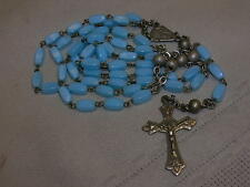 Vintage Rosary Light Blue Glass Beads Marked Italy ROMA