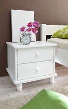 Chevet table de nuit 2 tiroirs KATHRIN Pin massif teinté blanc