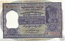 INDIA RS 100 BIG SIZE NOTE G-22  BHATTACHARYA XF RED SERIAL DAM ON REVERSE 1960