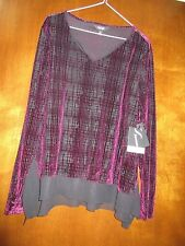 Ladies Simply Vera Purple & Black Long Sleeve Top Size Large Petite NWT