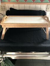 Wood Breakfast In Bed Tray Natural Wood With White Top