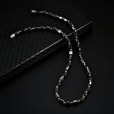 "Men Women's Black Hematite Magnetic Bead Strand Choker Necklace 18"" Magnet Clasp"