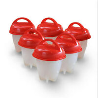 6x Egg Cooker Maker Boiled Egg Cups Poacher Silicon Mold Non Stick without Shell