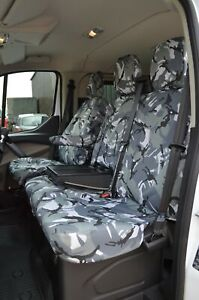 Grey Camo Tailored Waterproof Seat Covers Front 3 for Ford Transit MK8 2014+