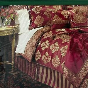Waterford Charlemont Queen Bed Skirt NEW Ruby Red Gold Striped Tailored NOS K4