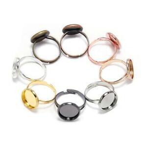 10pcs Adjustable Blank Ring Base Glass Cabochons Tray Diy Jewelry Making Ring
