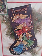 NIP Dimensions Counted Cross Stitch Stocking Kit ANGEL KITTY #8485 USA