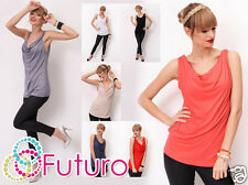 Ladies Casual Vest Top Sleeveless Cowl Neck Party Tunic T-Shirt Sizes 8-18 8124