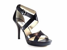 Michael Kors Evie Platform Black Leather & Silver Open Toe Heel Sandal Size 10