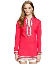 Tory Burch Tunic Embroidered Splitline  $295  White Sz 12 Classic Coral Pink XL