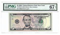 2009 $5 NEW YORK FRN, PMG SUPERB GEM UNCIRCULATED 67 EPQ BANKNOTE