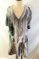 Leifsdottir Anthropologie Split Shoulder Drop Waist Gray Silk Dress Women's 8