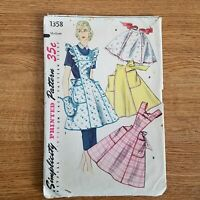 Simplicity 50's Sewing Pattern Large #1358 Cobblers Apron Half Apron Pockets VTG